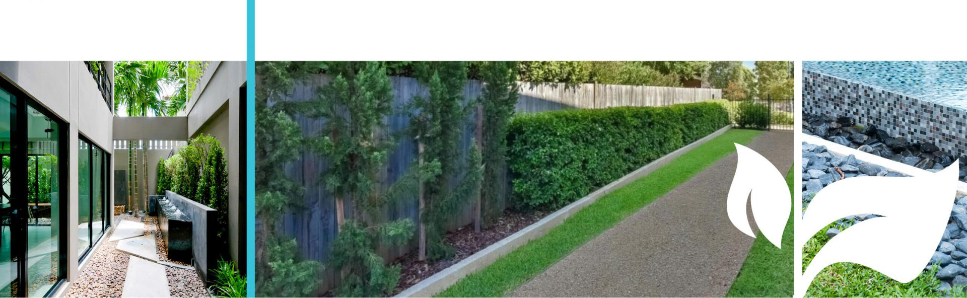 Manicured exterior lawn walkway
