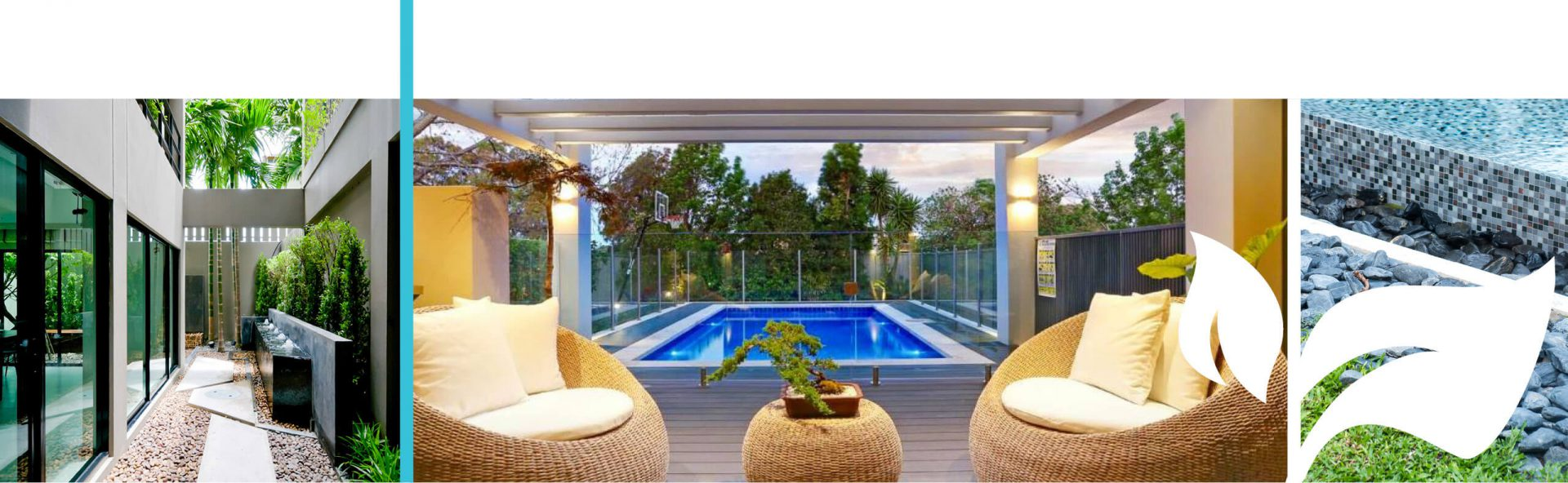 Pool surrounded by decking beside a pergola at dusk