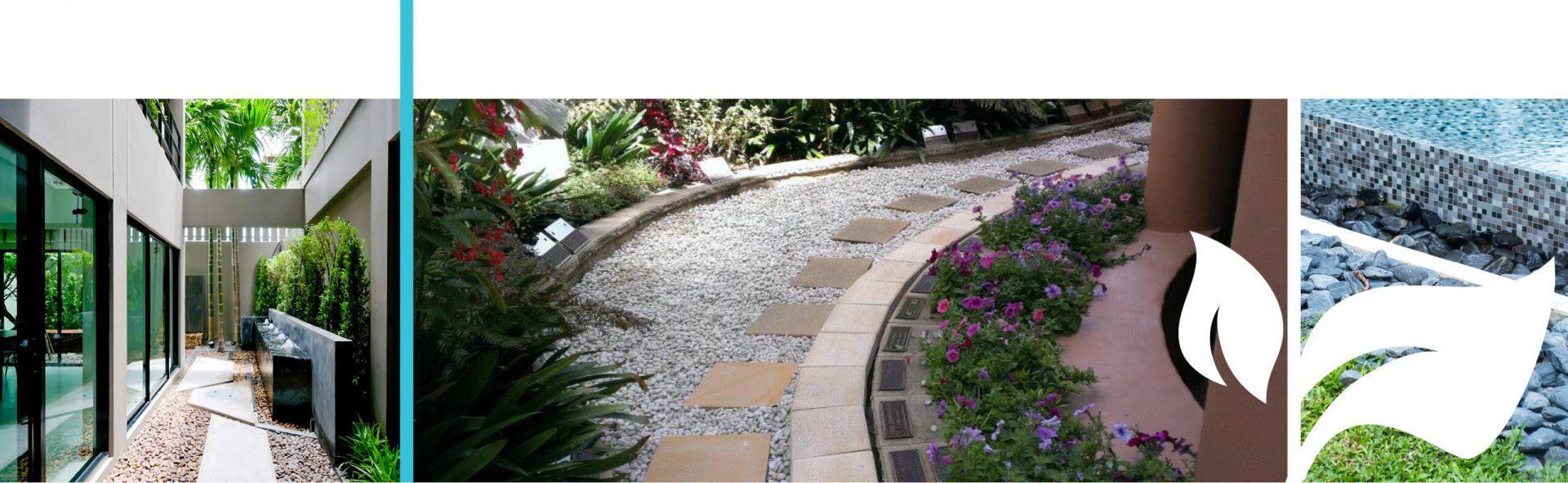Decorative gravel pathway