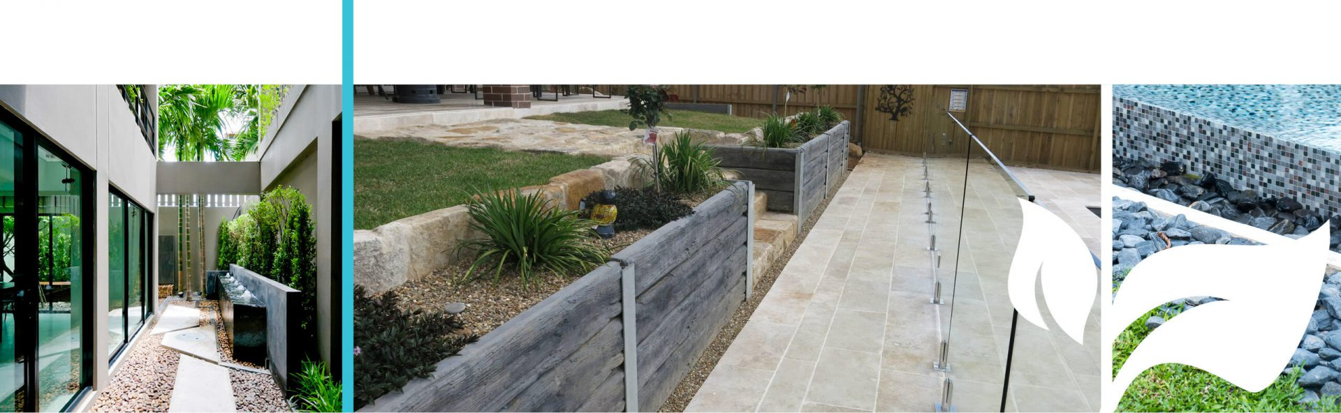 Paved area with retaining wall